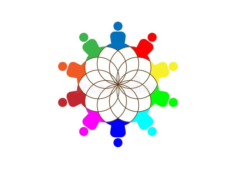 Grupowi ludzie joga Pracownianego logo i Lotosowy kwiat Emblemat ikona, pojęcie grupa ludzi spotkania współpracy wielka praca royalty ilustracja