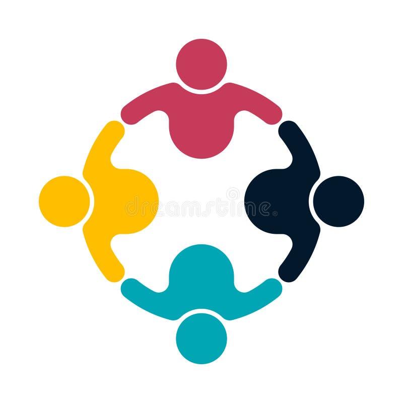 Grupowi ludzie logo uścisku dłoni w okręgu, pracy zespołowej ikona, wektorowy ilustrator royalty ilustracja
