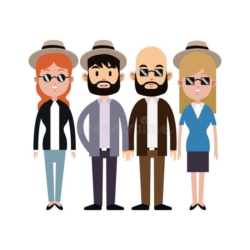 Grupowi ludzie modnisiów okularów przeciwsłonecznych kapeluszowej brody ilustracji