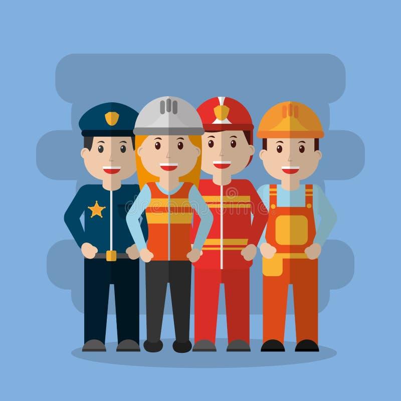 Grupowi pracowników differents zawodu ludzie royalty ilustracja