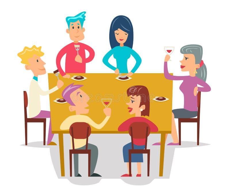 Grupowi przyjaciele Jedzą posiłków charakterów świętowania przyjęcia kreskówki projekta wektoru ilustrację ilustracji