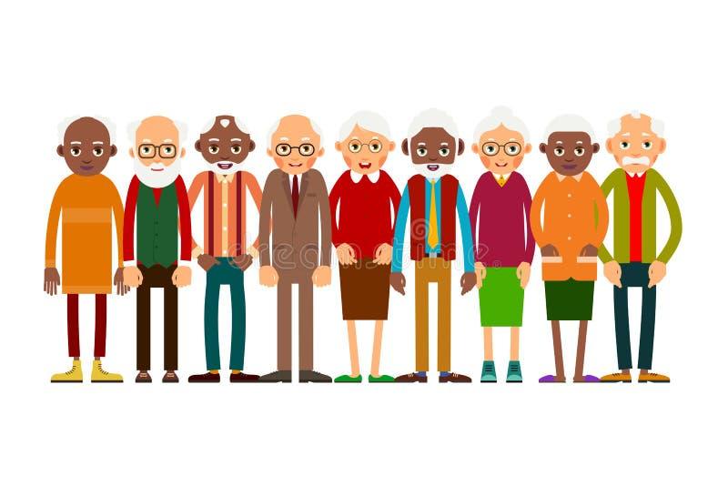 Grupowi starzy ludzie royalty ilustracja
