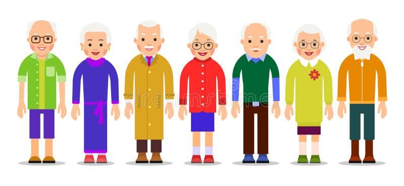 Grupowi starzy ludzie Dorosły osoby stojak obok each inny elde ilustracja wektor