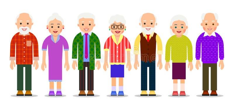 Grupowi starzy ludzie Starzejący się caucasian ludzie tła starszych osob odosobnione mężczyzna białe kobiety ilustracji