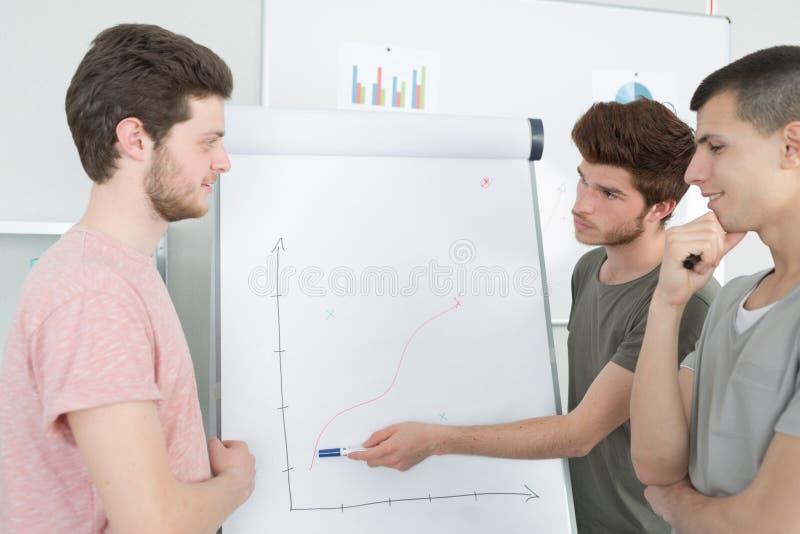 Grupowi ucznie przedstawia projekt w sala lekcyjnej i dyskutuje zdjęcie royalty free