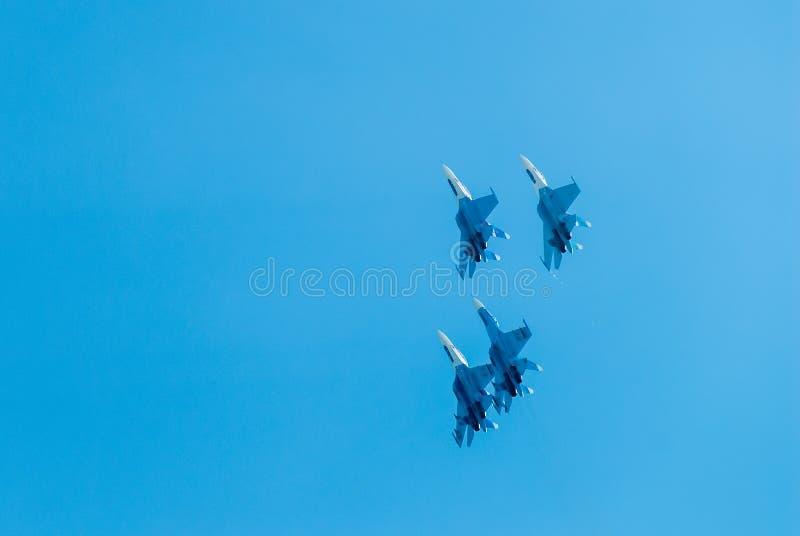 Grupowy lot rosyjska loci drużyna na SU-27 obrazy royalty free