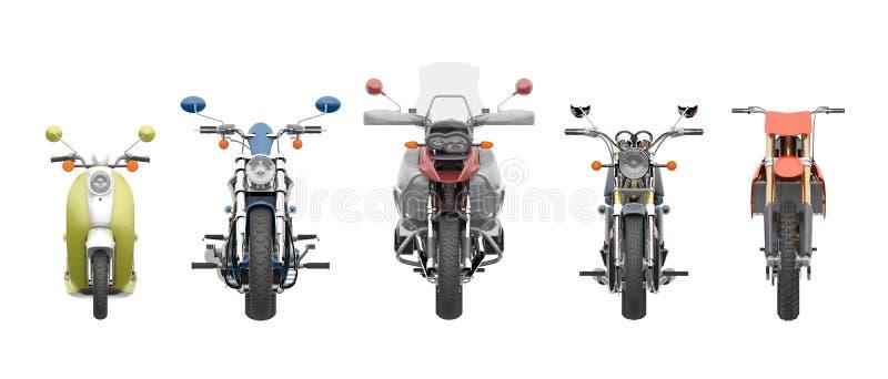 Grupowy motocyklu frontowego widoku 3d rendering ilustracja wektor