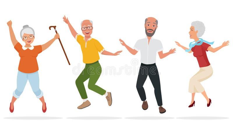 Grupp av äldre folk tillsammans Aktiv och lycklig gammal hög banhoppning den främmande tecknad filmkatten flyr illustrationtakvek royaltyfri illustrationer