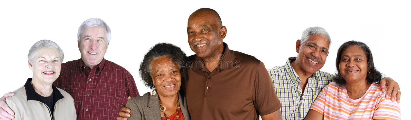 Grupp av äldre par royaltyfri foto