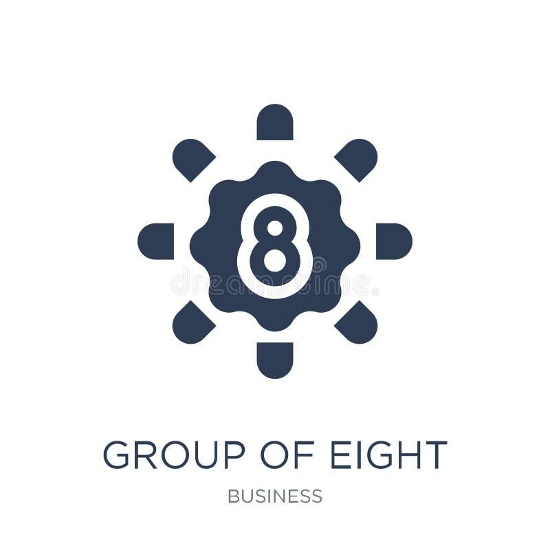 Grupp av åtta symbolen (G8) Moderiktig plan vektorgrupp av åtta (G8) royaltyfri illustrationer