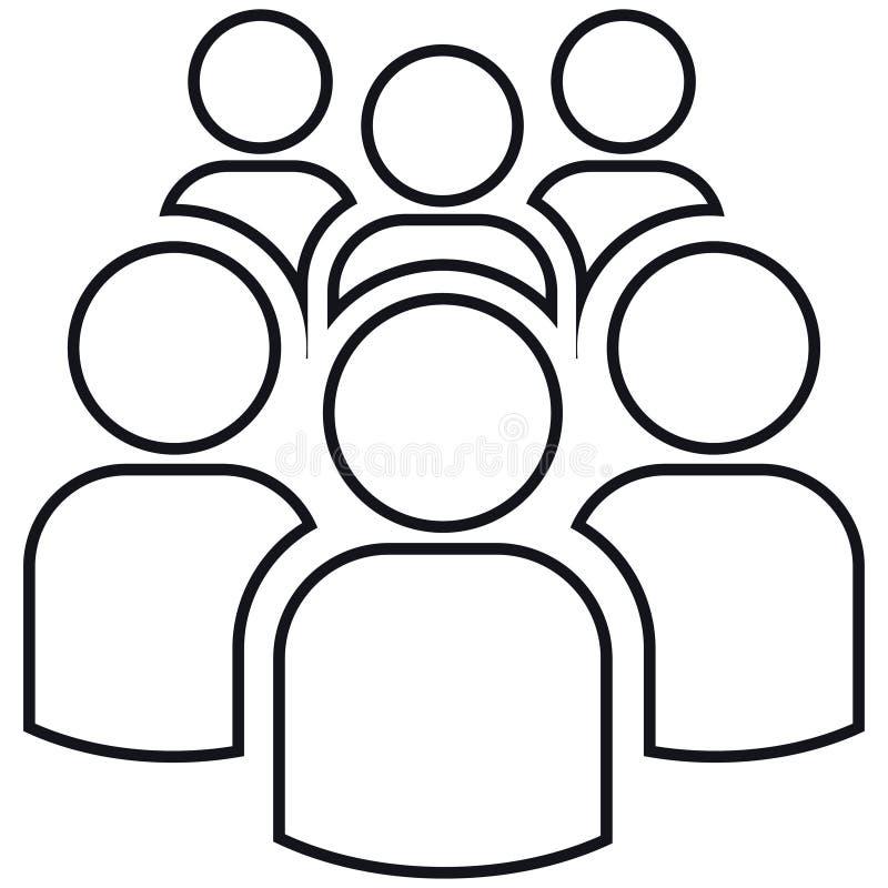 Grupp av översikter av sex personer royaltyfri illustrationer