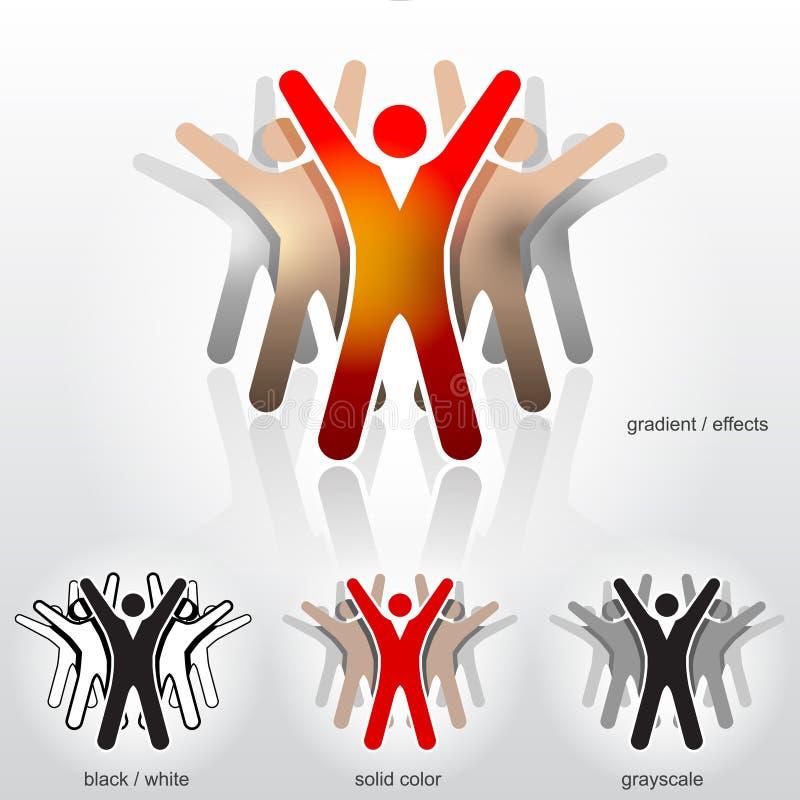 Grupp av abstrakt folk med deras händer upp vektor illustrationer