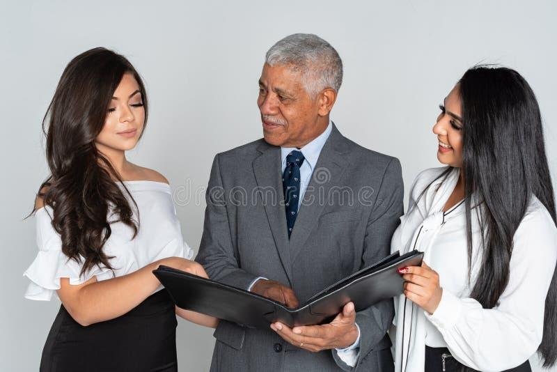 Grupp av affären Team Members Working arkivbild