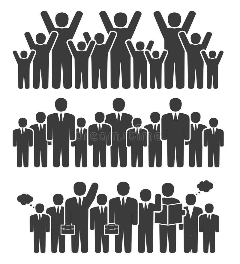 Grupp av affärsfolk i en stående position stock illustrationer
