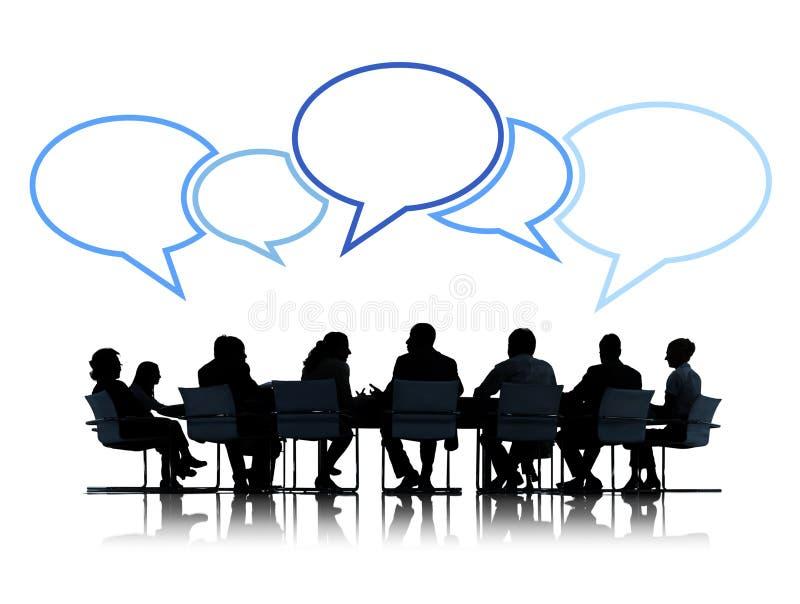 Grupp av affärsfolk i möte vektor illustrationer