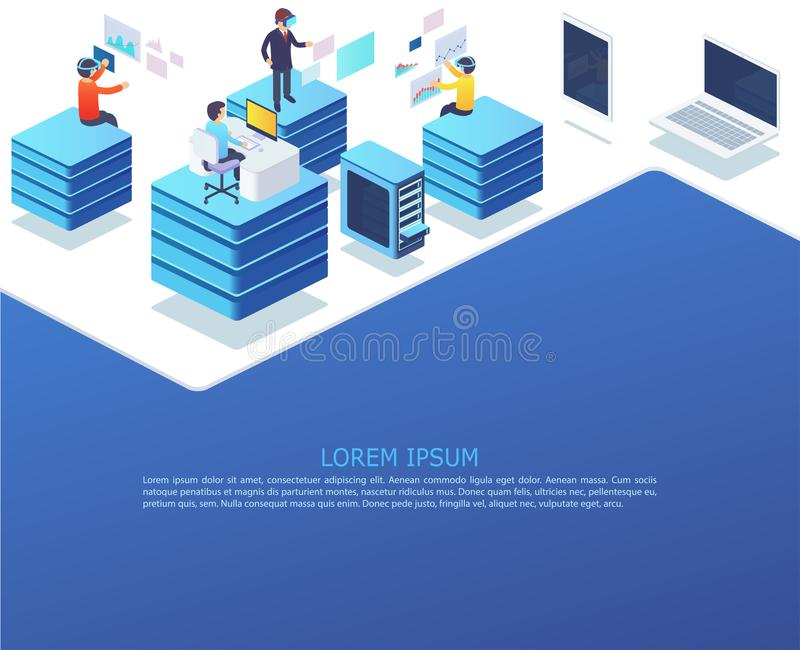 Grupp av affärsfolk som arbetar genom att använda digitala apparater vektor illustrationer