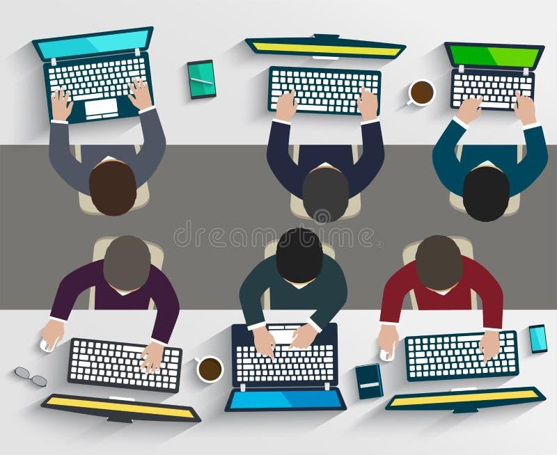 Grupp av affärsfolk som arbetar genom att använda digitala apparater royaltyfri illustrationer