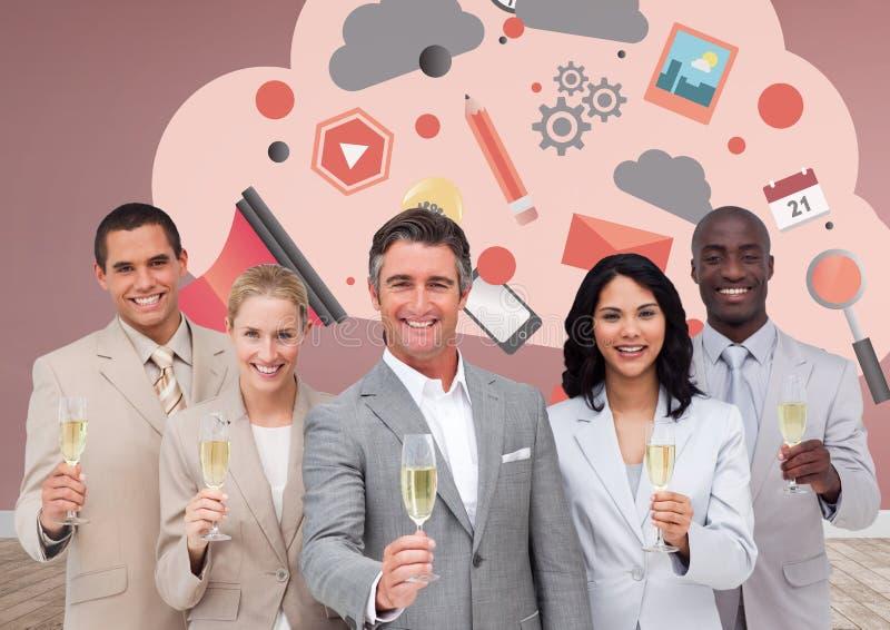Grupp av affärsfolk som framme dricker champagne av molndiagram stock illustrationer