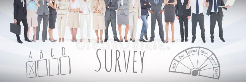 Grupp av affärsfolk som framme står av granskningsdiagram stock illustrationer