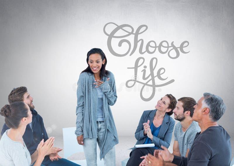 Grupp av affärsfolk som sitter i cirkeln som framme möter av Choose livtext vektor illustrationer