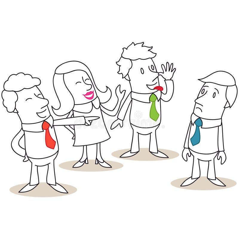 Grupp av affärsfolk som trakasserar kollegan stock illustrationer