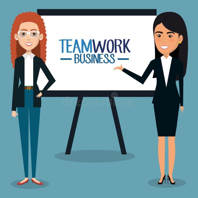Grupp av affärskvinnan med paperboardteamwork royaltyfri illustrationer
