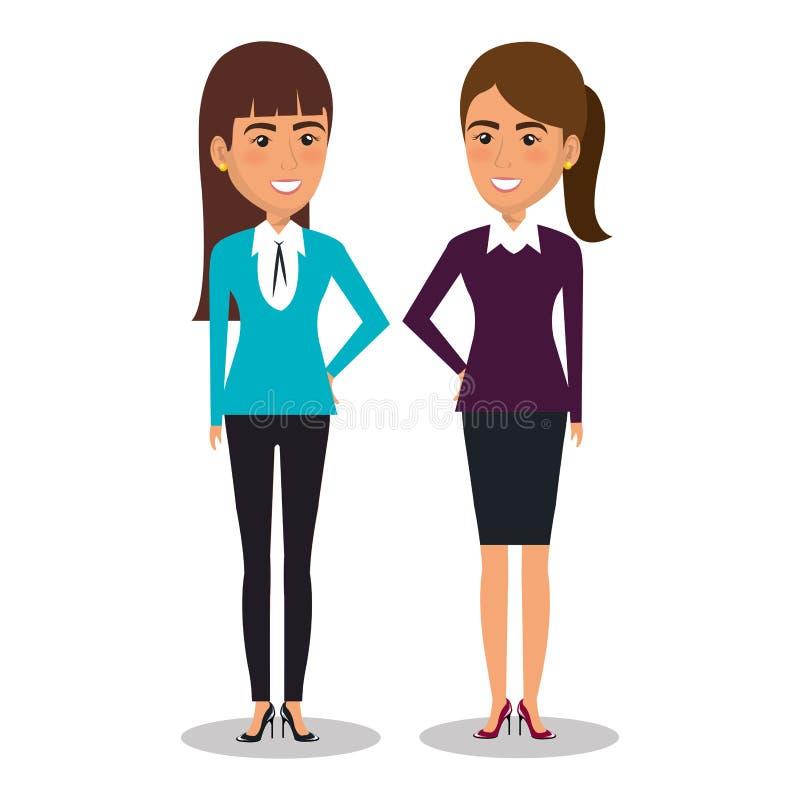 Grupp av affärskvinnateamwork royaltyfri illustrationer