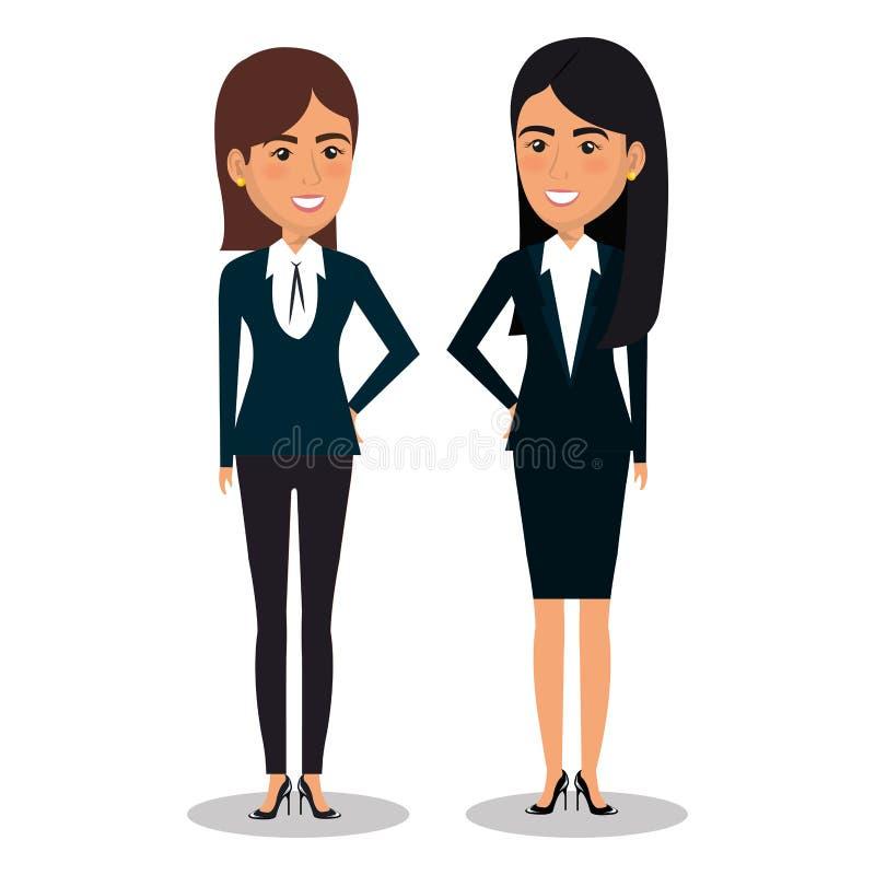 Grupp av affärskvinnateamwork vektor illustrationer