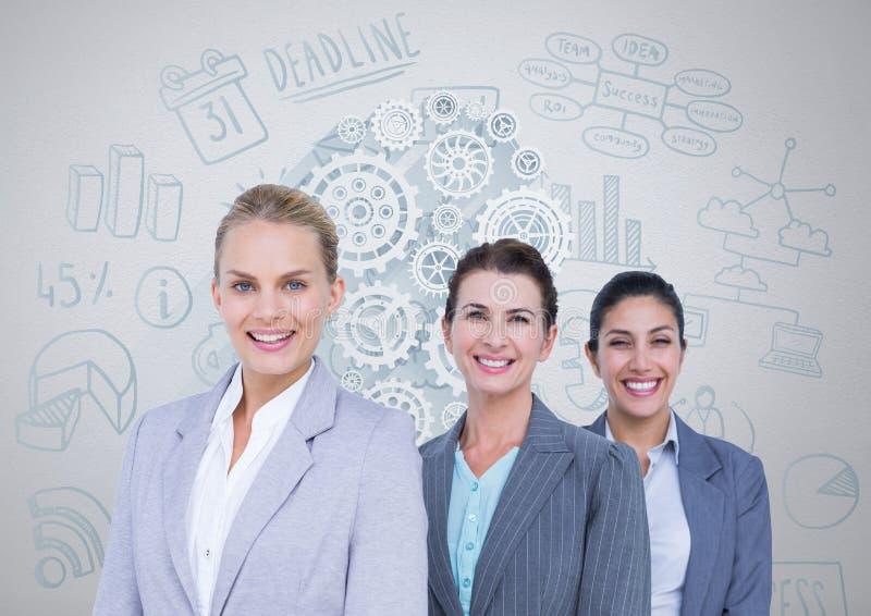 Grupp av affärskvinnor framme av affärsdiagram stock illustrationer