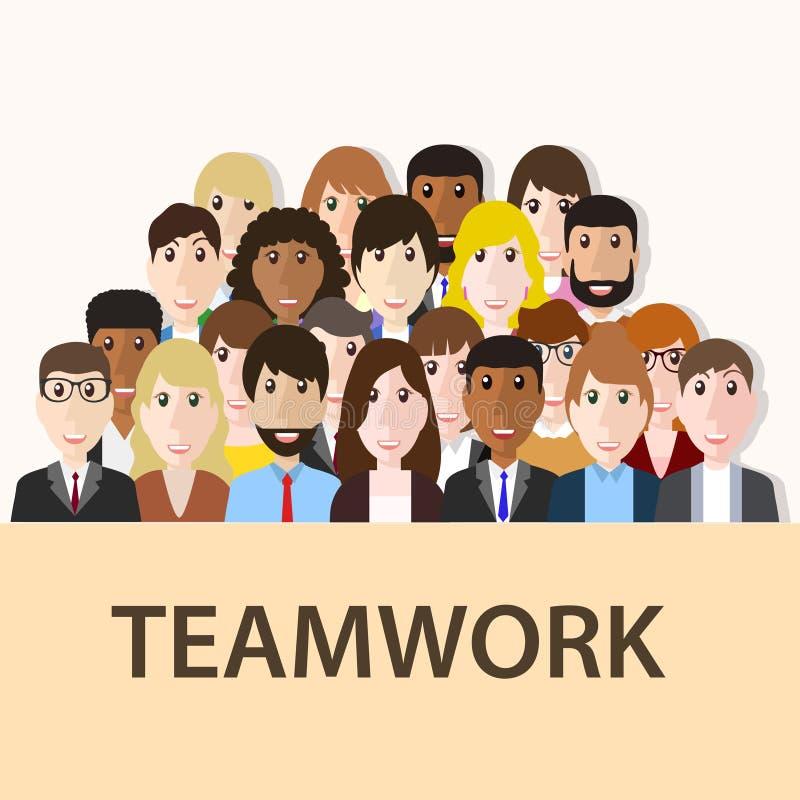 Grupp av affärsmannen och affärskvinnan, baner för teamworkkonstarbete stock illustrationer