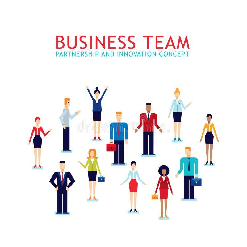 Grupp av affärsmannen och den affärskvinnaTeamwork Partnership Successful affärsidéen vektor illustrationer