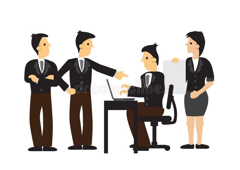 Grupp av affärsmannen som arbetar i ett lag Begrepp av företags teamwork, startkultur, den strategiska planläggningen och kontors vektor illustrationer