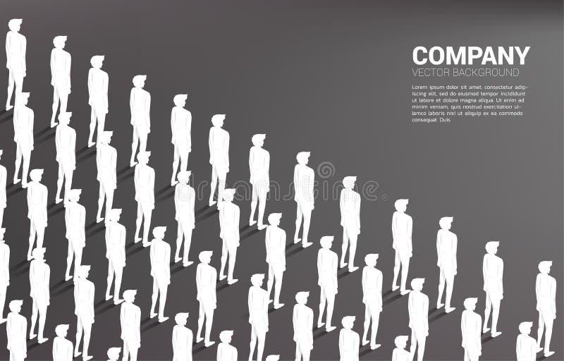 Grupp av affärsmannen som tillsammans som står är ordningsam stock illustrationer