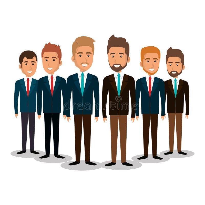 Grupp av affärsmanteamwork vektor illustrationer