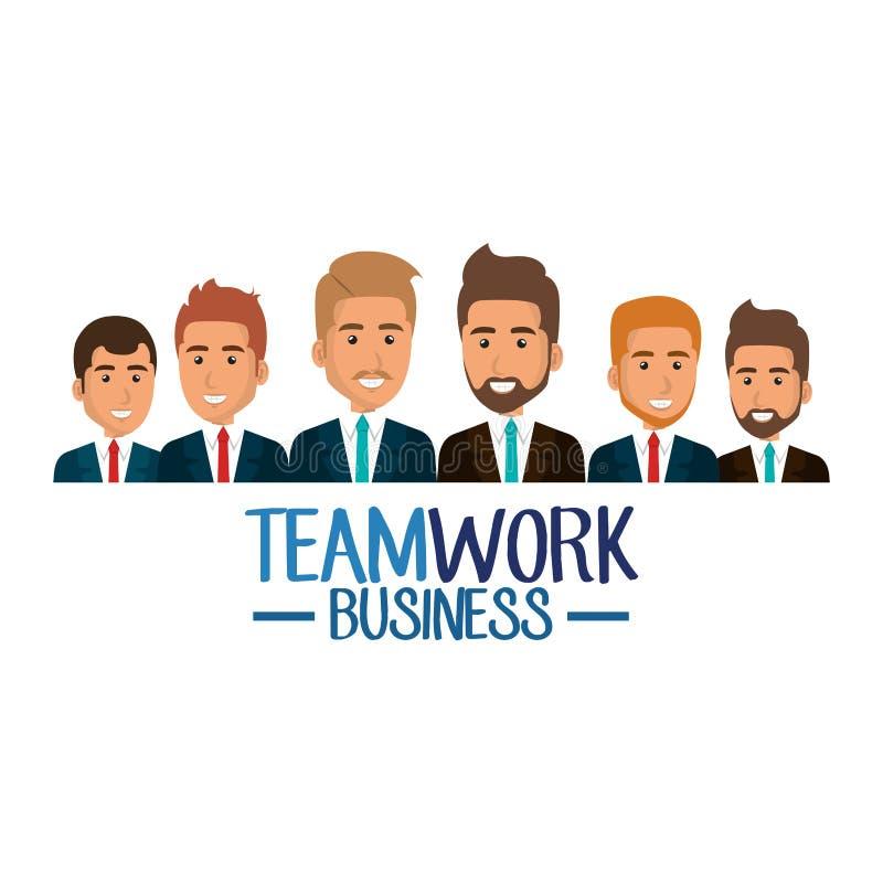 Grupp av affärsmanteamwork stock illustrationer