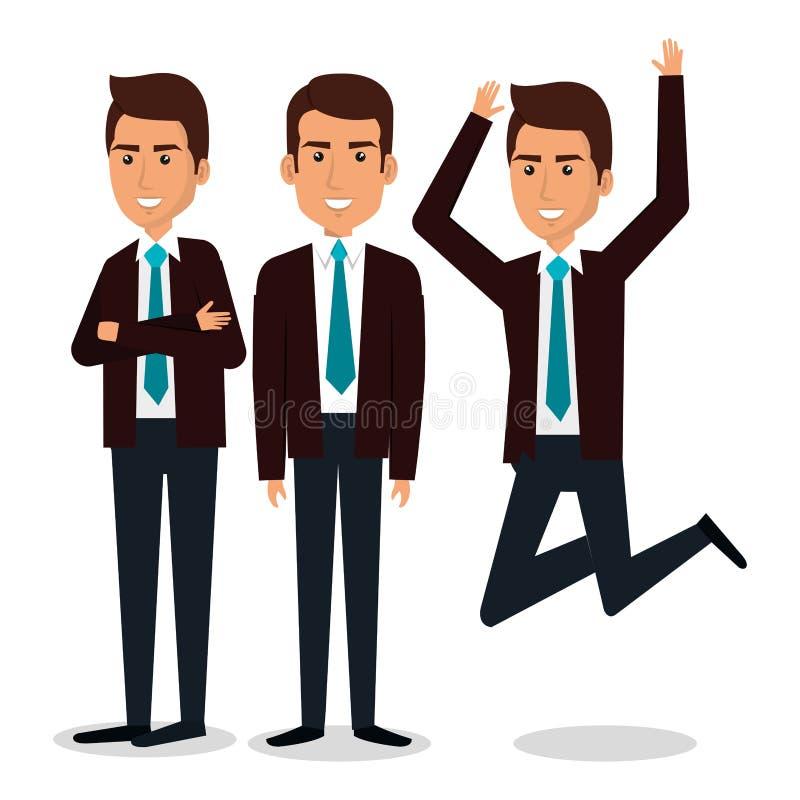 Grupp av affärsmanteamwork royaltyfri illustrationer