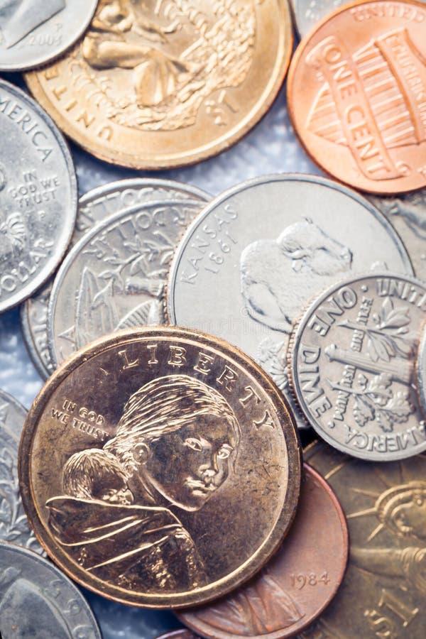 Grupp av amerikanska mynt för USA royaltyfri foto