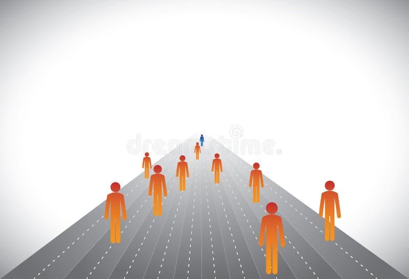 Grupp av anhängare & ledare eller anställda & chefdiagram vektor illustrationer