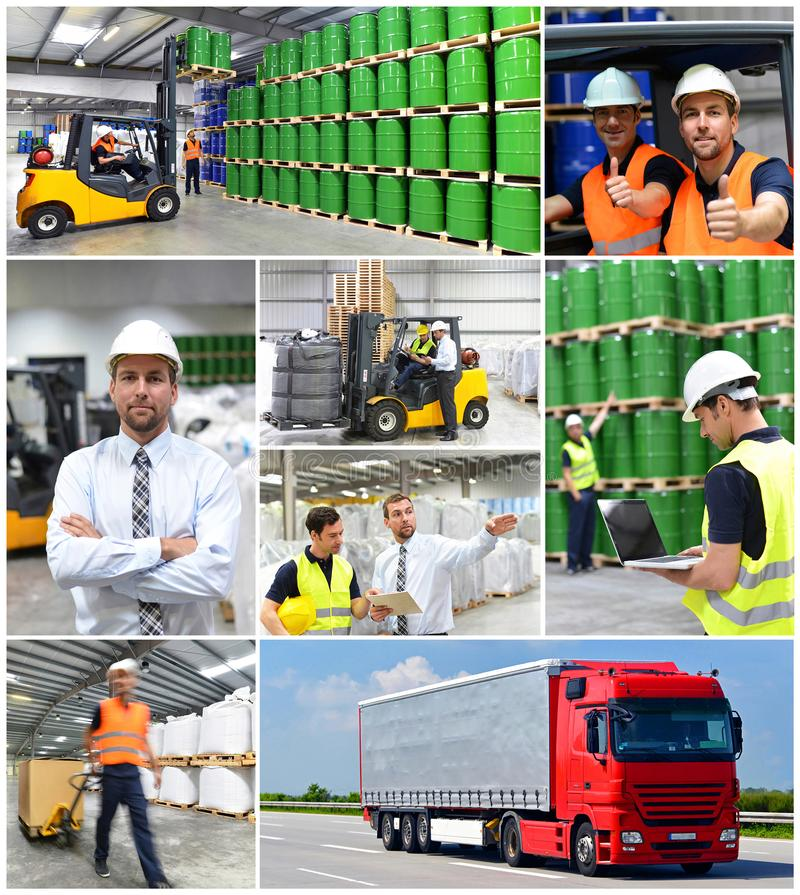 Grupp av arbetare i logistikbranscharbetet i ett lager w royaltyfri bild
