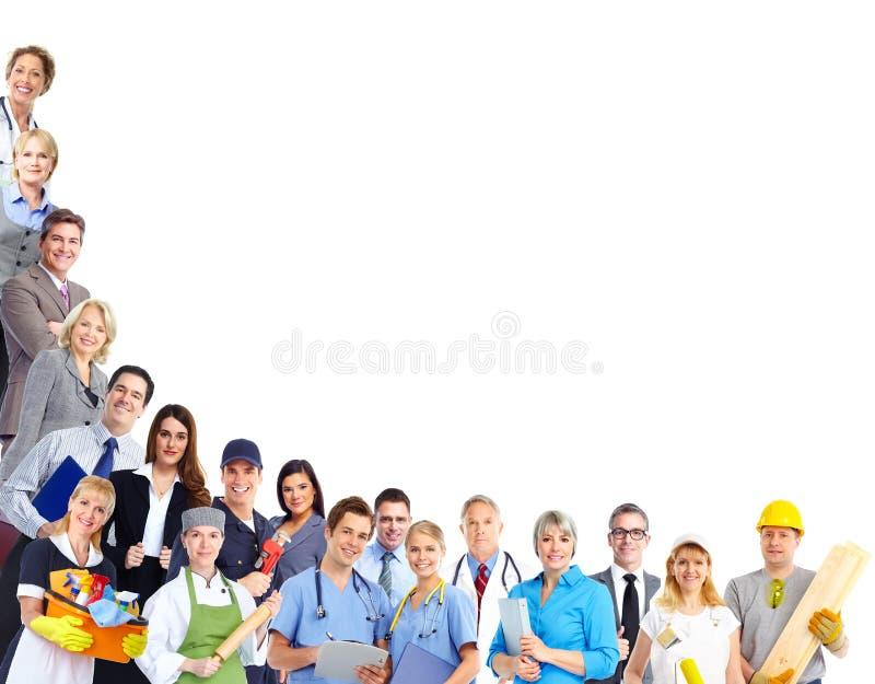 Grupp av arbetarfolk arkivfoto