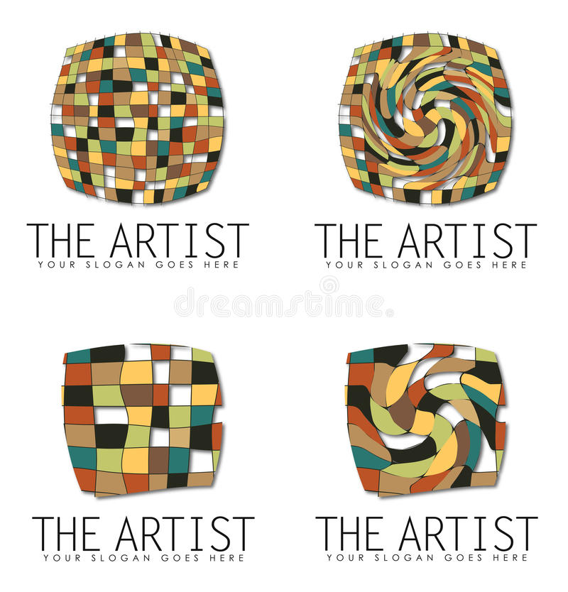 Grupp av Art Business Logo Designs stock illustrationer
