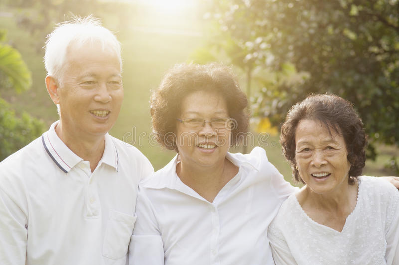 Grupp av asiatiska pensionärer som firar kamratskap royaltyfri fotografi