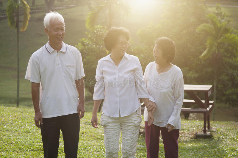 Grupp av asiatiska pensionärer som går på naturmedeltalen arkivfoton