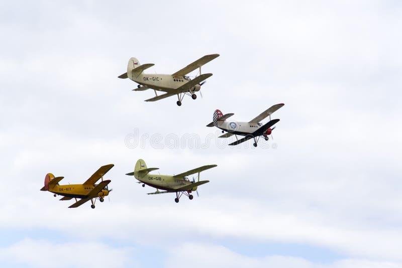 Grupp av att flyga för Antonov An-2 biplaner arkivbild