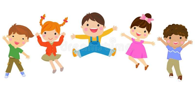 Grupp av att hoppa för barn vektor illustrationer