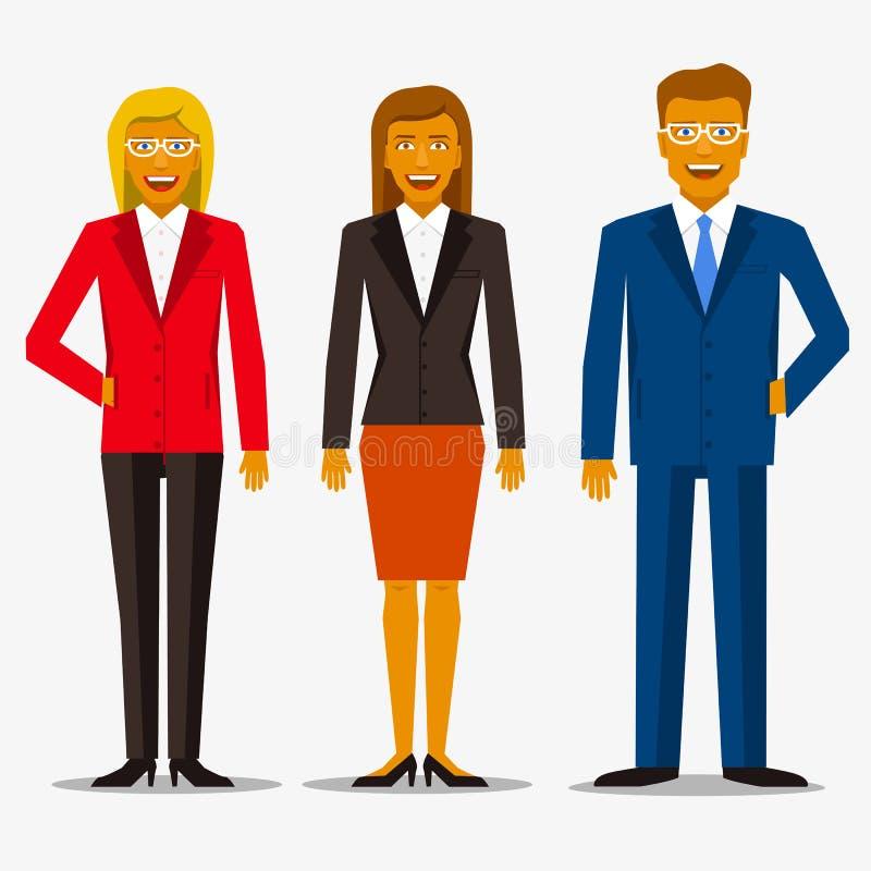 Grupp av att le affärsfolk i dräkter Kvinna och män stock illustrationer