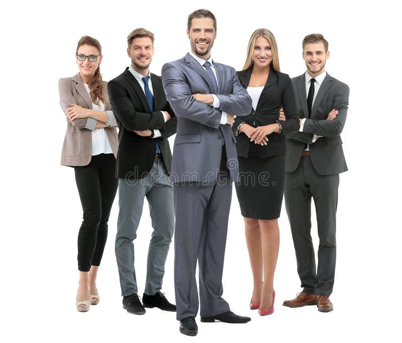 Grupp av att le affärsfolk Isolerat över vitbakgrund royaltyfria bilder