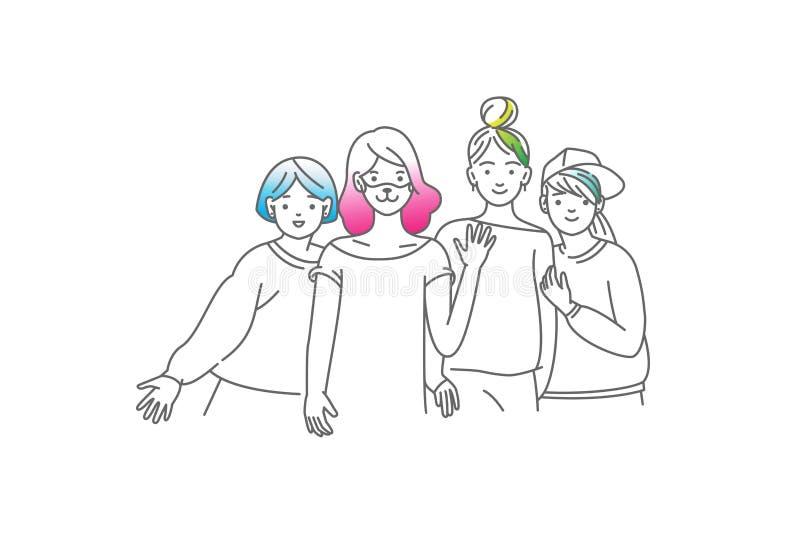 Grupp av att le tonårs- flickor, vänner som tillsammans står och att omfamna sig, vinkande händer Lyckliga studenter isolerade vektor illustrationer
