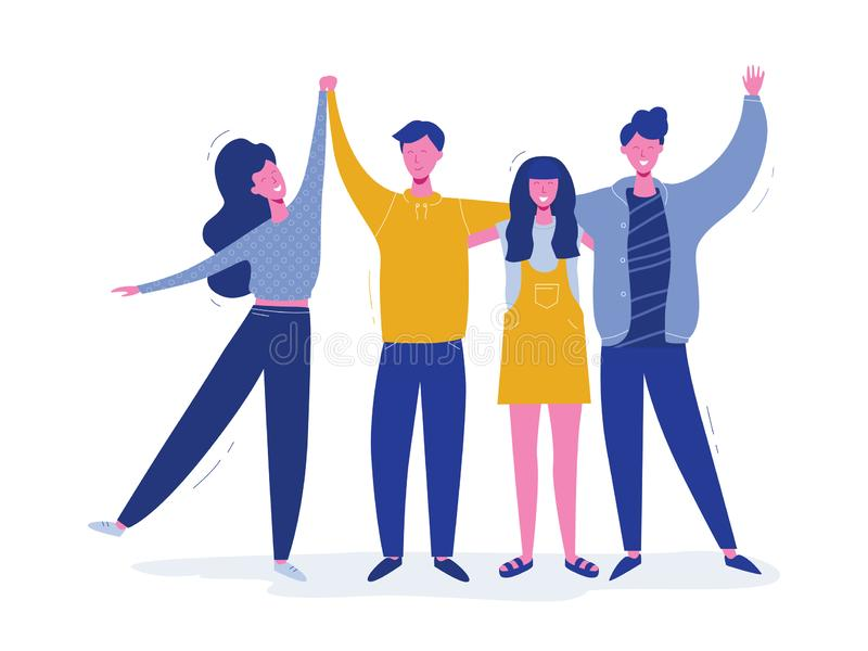 Grupp av att le tonårs- pojkar och flickor, skolavänner, lyckliga studenter som tillsammans står, vinkande händer Kamratskapdag stock illustrationer