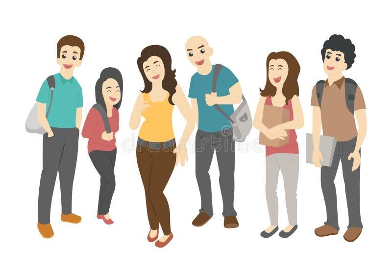 Grupp av att le tonårs- studenter vektor illustrationer